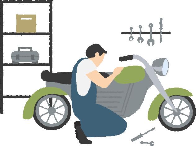 バイクを点検する人